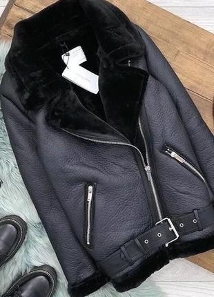 Куртка косуха дубленка авиатор в байкерском стиле zara