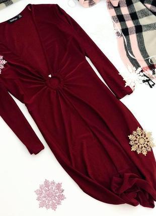 Платье макси с глубоким вырезом декольте, длинный рукав, глубокий винный цвет, m-l