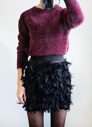 Нереальная юбка с перьями!