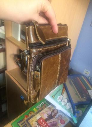 Мужская кожаная сумка для мелочей, хорошая цена3