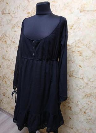 Очень классное стильное натуральное платье, насыщенного черного цвета, размер 46-48