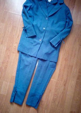 Костюм пиджак кюлоты бриджи голубые бельевой пижамный стиль