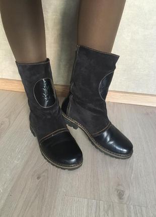 Темно-синие сапожки кожаные замшевые sharman 39 р