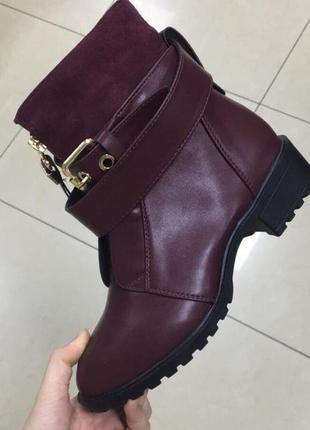 Бомбезные ботинки бордо ,от натуралки не отличить,утеплены тонким мехом  .36 размер