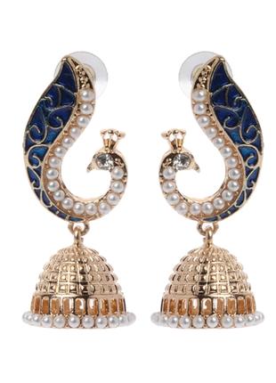 Оригинальные стильные серьги серёжки павлин жар птица с куполом индийские бохо этно
