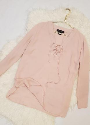 Рубашка розовая, нежно- розовая рубашка с завязочками