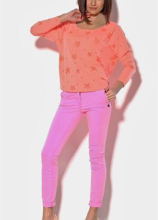 Яркие летние розовые брюки голландия чиносы прямые немного зауженные к низу из хлопка