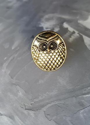 Кольцо бронзовое сова с теснением регулируется размер бохо этно стиль