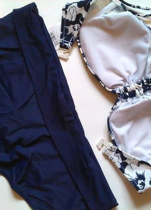 70а-в, 75а-в новый! потрясающий темно-синий купальник бандо, чашка а-в4 фото