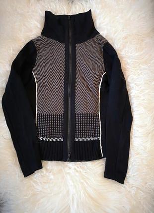 Теплая кофта свитер с горлом шерсть шелк на змейке