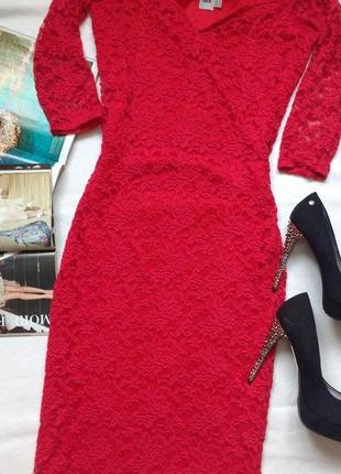 """Красное кружевное платье - миди """"asos"""""""