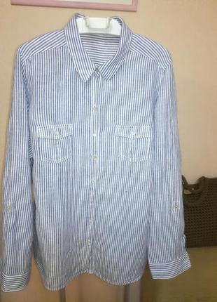 Стильная льняная рубашка оверсайз в полоску m&s, р.22