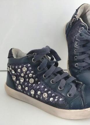 Ботинки школьные синие стразы