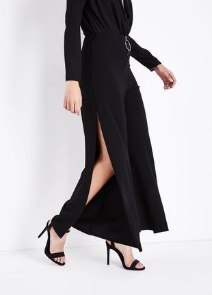 Трендовые свободные брюки с молнией и разрезами снизу, классические штаны new look