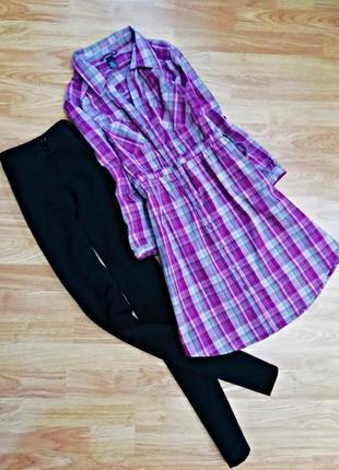 Удлиненная хлопковая брендовая рубашка - туника в клетку h&m - размер 44-46