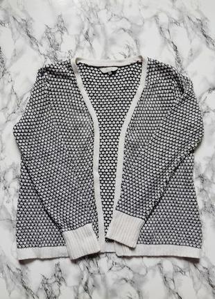 Черно белый вязаный кардиган кофта без застежек свободная оверсайз