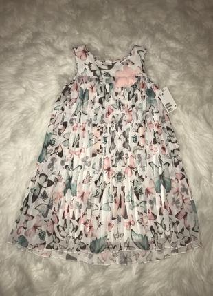 Нежное платье плиссе h&m. 6-8 лет.