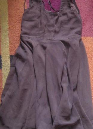 Нарядное платье шифоновое с пышной юбкой и подкладкой из льна