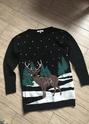 Свитер новогодний чёрный с оленем тёплый зимний свитшот гольф в рубчик кофта
