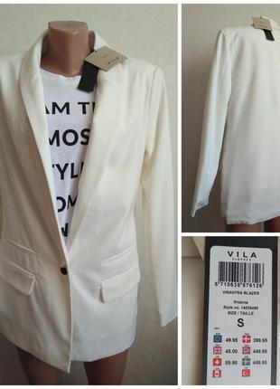 Vila clothes новый с ценником тренд сезона фирменный блейзер молочный белый s 36 8 44