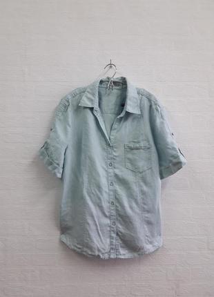 Льняная рубашка на пуговичках , подойдет на 50,52 р.