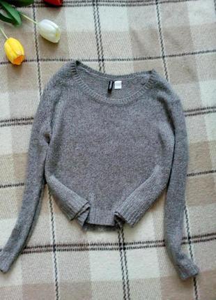 Короткий свитер оверсайз с шерстью от h&m cветло серый