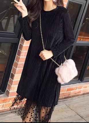 Велюрова сукня туніка з підкладкою з фатину