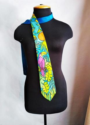 Шелковый галстук ручная роспись батик