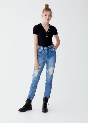 Обнова! джинсы мам мом mom дистресс эффект pull&bear1 фото