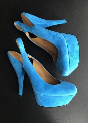 Туфли натуральная кожа голубые
