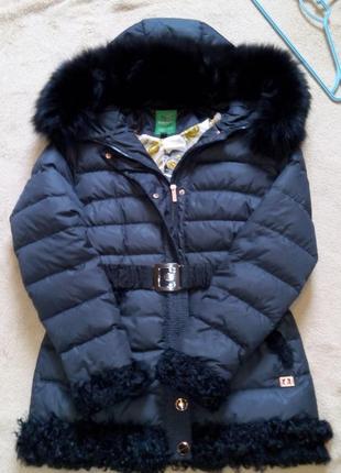 Фирменный теплый зимний пуховик, пальто, куртка с песцом р.48-50 money & you