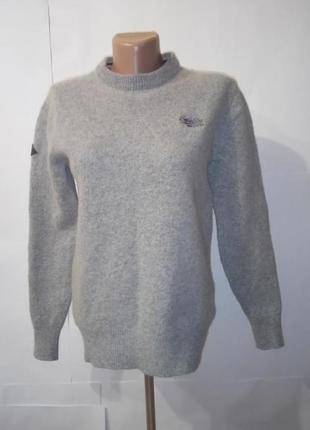 Серый теплый шерстяной свитер superdry uk 12-14 / 40-42 /.l