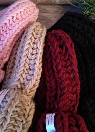 Sale! новая обьемная шапка крупной вязки цвета беж hand made3