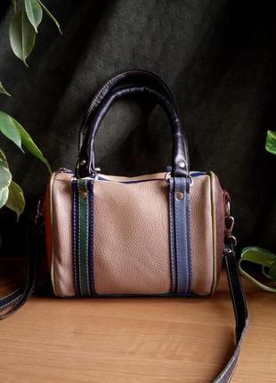 Миниатюрная кожаная разноцветная сумочка