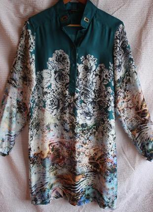 Шелковое платье -рубашка в идеальном состоянии размер m-l/38-40