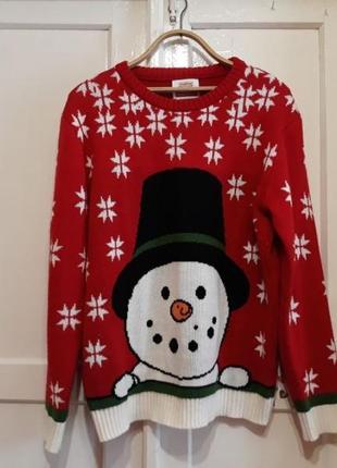 Зимний новогодний свитер со снеговиком nationale postcode loterij