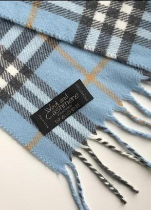 Новый голубой шарф в клетку синий палантин burberry