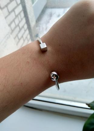 Стильный металлический браслет под часы шарик и куб