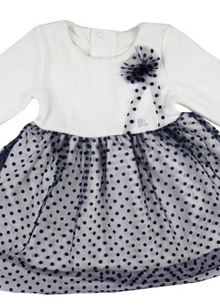 """80-86, 86-92 см: велюровое платье с фатином """"горошек"""""""