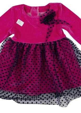 """80-86 см: велюровое платье с фатином """"горошек"""""""