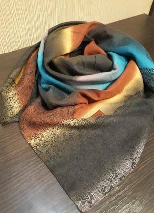 Роскошный шерстяной 80% турецкий платок градиент