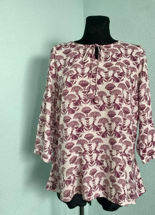 Кофта блузка туника с баской white stuff с зайками размер 18 наш 50-52 цена 100грн.