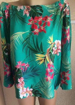 Летняя вискозная блуза на плечи с гавайским принтом
