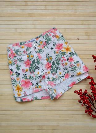 Яркие летние мини шорты в цветочный принт select большой размер