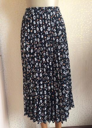 Тренд !!! плиссированная юбка в принт цветы