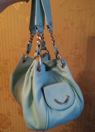 Мега красивая бирюзовая кожаная сумка от juicy couture