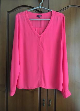 Шифоновая яркая розовая блуза с длинным рукавом warehouse