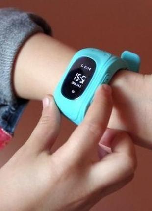 Детские смарт часы watch q50 голубые с gps3