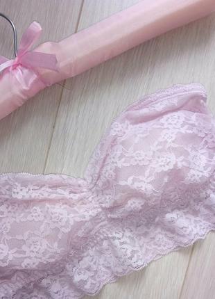 Розовый кружевной бандо, топ, лиф прозрачный подростоковый без бретелек h&m