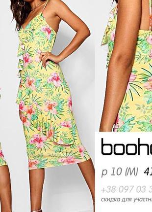 Яркое узкое платье-миди с воланами, сарафан, летнее, оригинал boohoo m, 10, 46